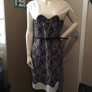 Classic Dress with Lace overlay and pockets! Sz 16